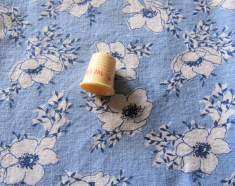 RESERVED FOR RETROA -- vintage full feed sack fabric -- white and navy on blue floral print
