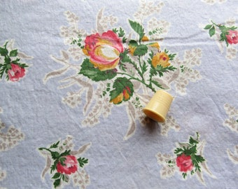 roses on pale blue floral print vintage cotton fabric -- 35 wide by the yard