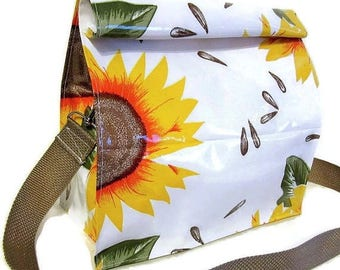 ON SALE White Yellow Sunflower Oilcloth Lunch Bag Snack Bag with Shoulder Strap Resuable Vintage Homemade Style
