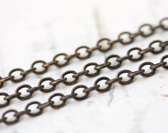 6ft 4.5mm x 5.5mm Antique Brass Cable Chain Small Oval, Oxidized Solid Brass Chain 4mm 5mm 6mm