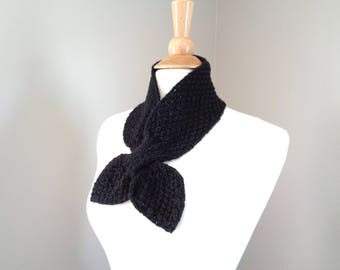 Black Ascot Scarf, Neck Warmer, Knitted Scarf, Elegant Refined Chic Office Style, Merino Wool & Cashmere