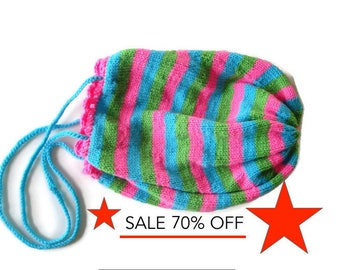 70% OFF Striped Knit Statement Bag, Neon Pink Green & Turquoise, Market Shopping Tote, Sling Bag, Summer Beach, Vegan