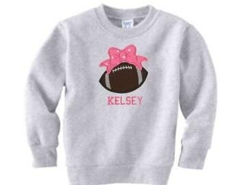 SALE Football Sweatshirt, Toddler Sweatshirt, Girls Football Shirt, Team Bow, Football Embroidery, Football Applique, Sports Gift, Football