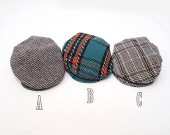 Newsboy Hat Plaid gray - Newborn photography props (Driving Hat)