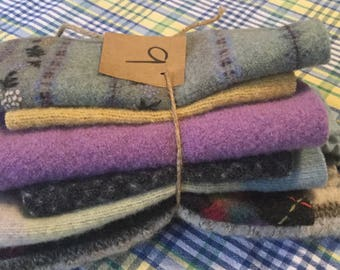 Lot of Upcycled Wool Sweater Fabric,Wool Bundles,Scrap Wool,Supplies,Crafts