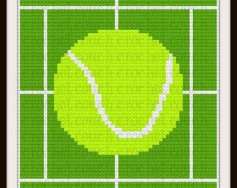 Tennis Kids Afghan, C2C Graph, Written Word Chart