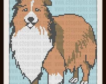 Shetland Sheepdog Crochet Pattern, C2C Graph, Sheltie Afghan, Sheltie C2C Graph