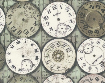 SALE Eclectic Elements by Tim Holtz - Clocks - Green - 1/2 Yard Cotton Quilt Fabric 817