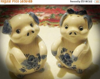 30% Off Clearance Sale Vintage Pigs-Windmill Salt Pepper Shakers-Deft Blue
