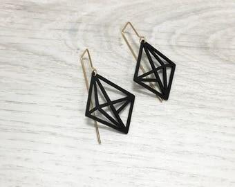 3d Geometric Shaped Earrings, Long Earrings, Geometric Black Hook Earrings, Modern 3d Jewelry