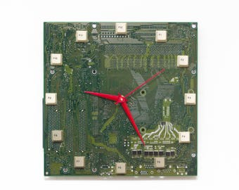 Unique Wall clock - recycled Computer - green circuit board - ready to ship c8285