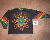 Tie Dye T-Shirt ~ Fire Mandala With Black Background ~ i-6430 in Long Sleeve Triple Extra Large