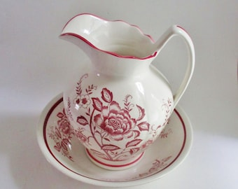 Vintage Pitcher and Bowl Set Royal Sealy Japan Red Transferware Centerpiece Vase