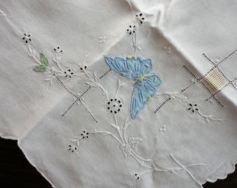 """Vintage Madeira Hand Embroidered Lunch Cloth and Napkins  34"""" Sq. and 11"""" Sq."""