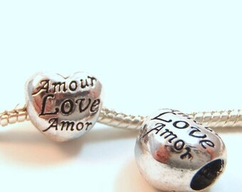 3 Beads - Love Amour Amor Heart Silver European Bead Charm E0910