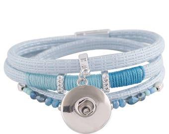 "1 Blue Leather Bracelet - 6.75"" FITS 18MM Candy Snap Charm Jewelry Silver KC0034 CJ0812"