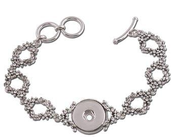 "1 Flower Bracelet - 7.25-8"" FITS 18MM Candy Snap Charm Jewelry Silver KC0709 CJ0829"