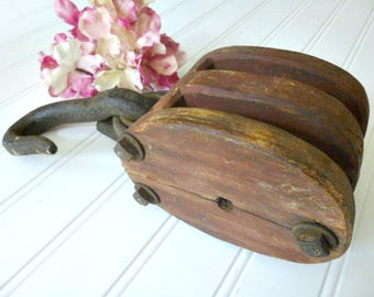 """10"""" Double Wooden Pulley With Hook   Wood and Iron Block   Block and Tackle Hoist"""