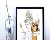 Martyr (Saint Sebastian) Art Print, Saint Sebastian Poster, Martyr Poster, Deer Poster