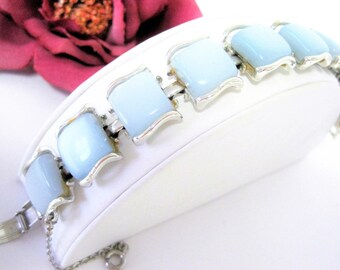 Blue Moonglow Bracelet - Coro Pegasus Lucite Thermoset - Vintage Retro Silver Tone - Safety Clasp