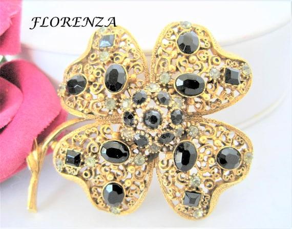 Florenza Rhinestone Brooch - Black Gray Stones  - Gold Filigree - Flower Shaped