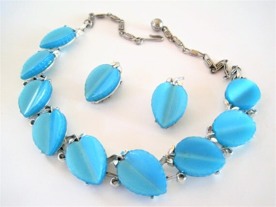 Aqua Lucite Necklace Set, Signed Lisner, Blue Lucite, Mid Century Choker Earrings