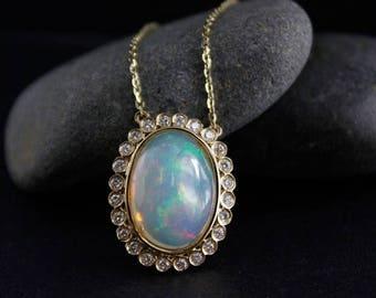 ON SALE Halo Diamond Solid White Opal Necklace – Art Deco Design