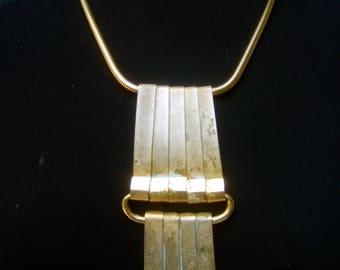 Unique Large Gilt Metal Statement Necklace c 1970s
