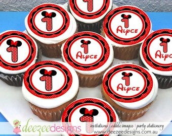 """Minnie Mouse Numbers Edible Icing Cupcake Toppers - 2"""" - PRE-CUT - Sheet of 15"""
