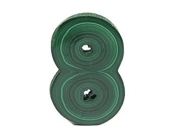 Malachite Dark Green Double Stalactite Stone Slice Semiprecious, Polished Geo Gemstone Concentric Bands Wear it or Display it African Gem