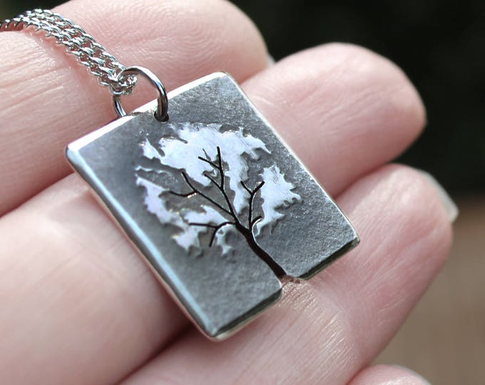 Square Tree Pendant, Silver Jewelry, Silver Jewellery, Silver Pendant, Leafy Tree Night Time Necklace