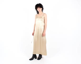 90s GOLD Metallic Nude Flesh Iridescent Minimal Cami Slip Party Cocktail Formal Dress