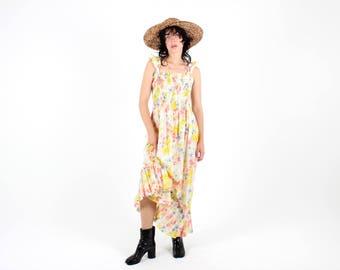 Cutest 90s Grungy Flower Power Psychedelic Rainbow Floral Shirred Babydoll Maxi Festival Dress w/ Frill Straps