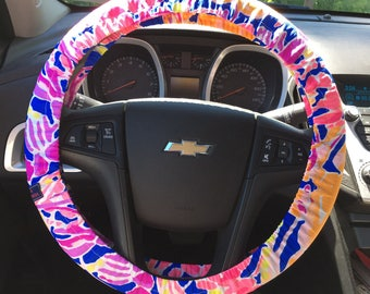 Steering Wheel Cover made with Lilly Pulitzer's Catch and Release fabric