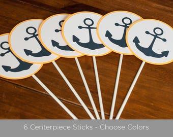 Nautical Baby Shower Centerpiece Sticks, Anchor Centerpiece Sticks, Anchor Baby Shower, Bright Yellow and Navy