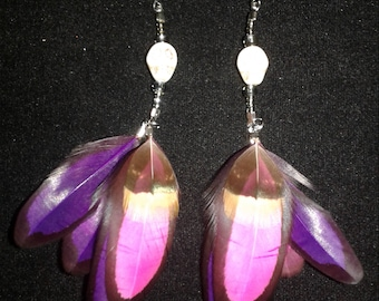Vibrant pink and purple skull feather earrings.