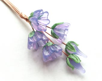 MTO 6 lilac flower lampwork glass headpins
