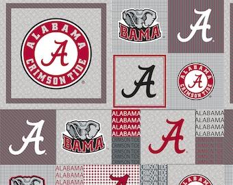 Alabama Crimson Tide Heather Grey Fleece Blanket Fabric with Box Design-Sold By the Yard