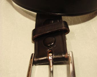 Vintage 1990s Black Leather Belt with Silver Metal Buckle