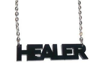 Black Laser Cut Healer Necklace, MMO Pendant, MMORPG