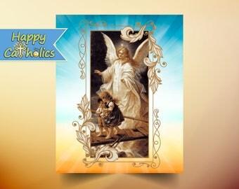 Guardian Angel Art Print  // Vintage Catholic Art // Angels