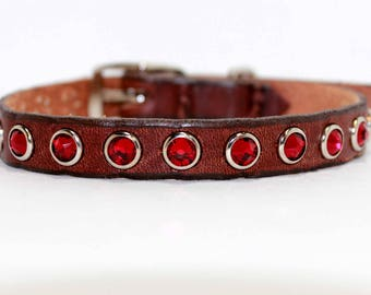 "Small Leather Dog Collar with Large Red Swarovski Crystals / Tiny Dog Collar / 1/2"" Dog Collar / Red Dog Collar"