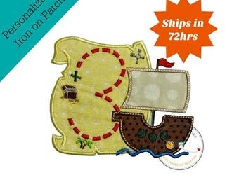 ON SALE NOW Treasure map birthday number three iron on applique, Pirate treasure map with ship, embroidery birthday number 3 iron on appliqu