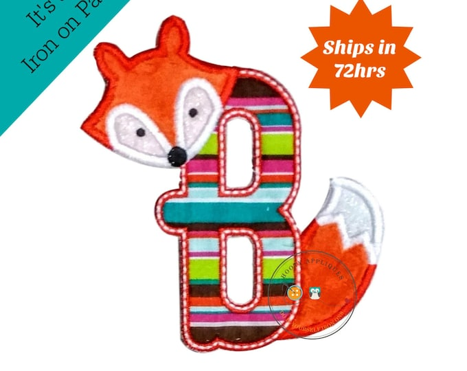Woodland fox letter B machine embroidered iron on no sew patch, fox embroidered monogram letter b, ready to ship