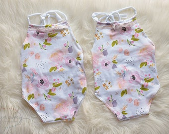Baby girl romper, floral print romper, sitter romper, photo prop, baby prop, halter romper, floral print, floral romper, ready to ship