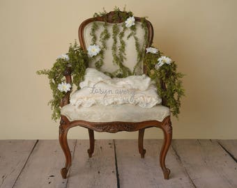 Floral chair digital backdrop, newborn digital backdrop, digital backdrop, vine chair digital background, antique chair digital