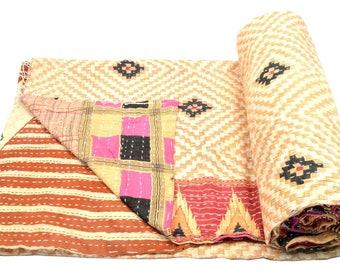 Vintage Kantha Quilt Gudri Reversible Throw Ralli Bedspread Bedding India OG1059