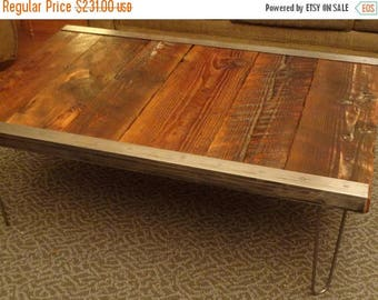 Limited Time Sale 10% OFF 20x40 Industrial Coffee Table with raw steel trim and hairpin legs