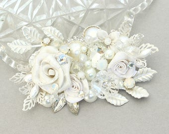 Bridal Hair Accessory- Floral Bridal Comb-Rhinestone & Pearl Hairpiece- Bridal Hairpiece- Wedding Comb- Wedding Hair Accessories-Bridal Comb
