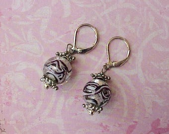 Pretty Dangling Earrings with Swirled Glass